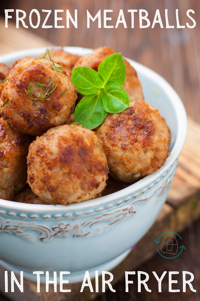 Close up image of cooked frozen meatballs.