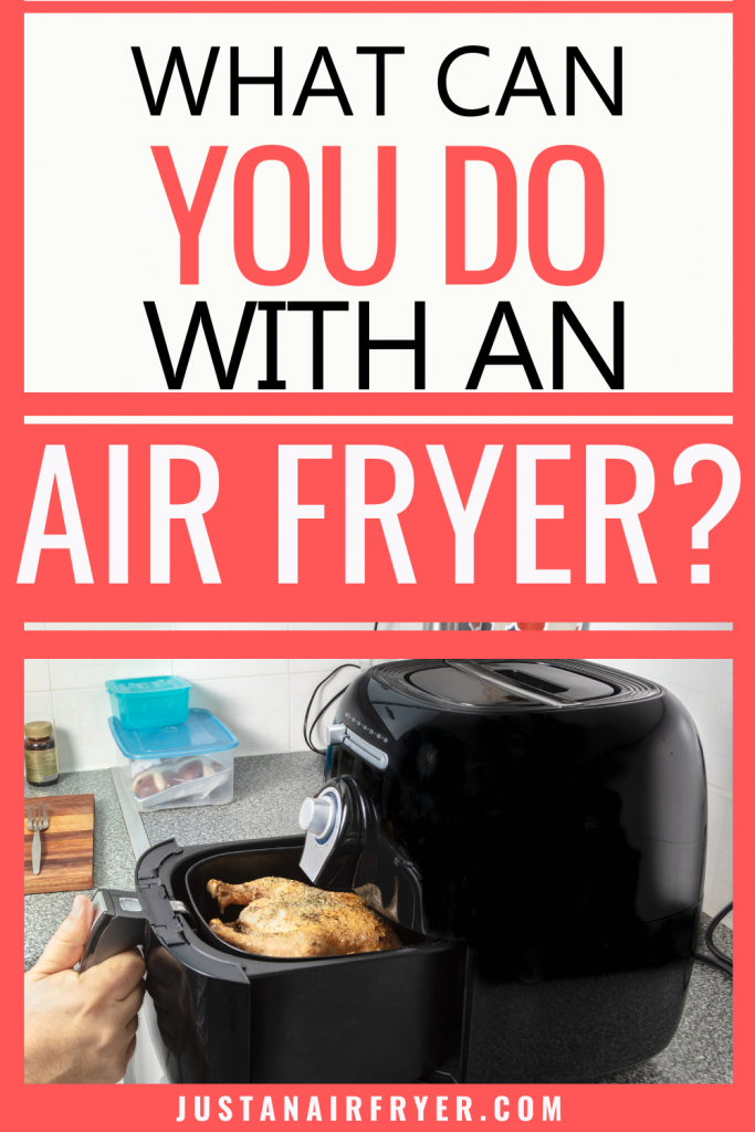 title image of What can you make with an air fryer with an air fryer holding a chicken