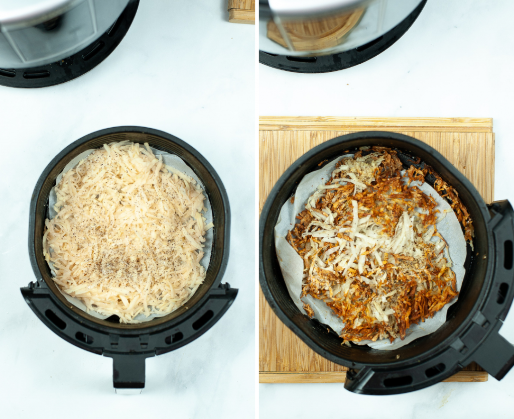 Cooking the air fryer hash browns