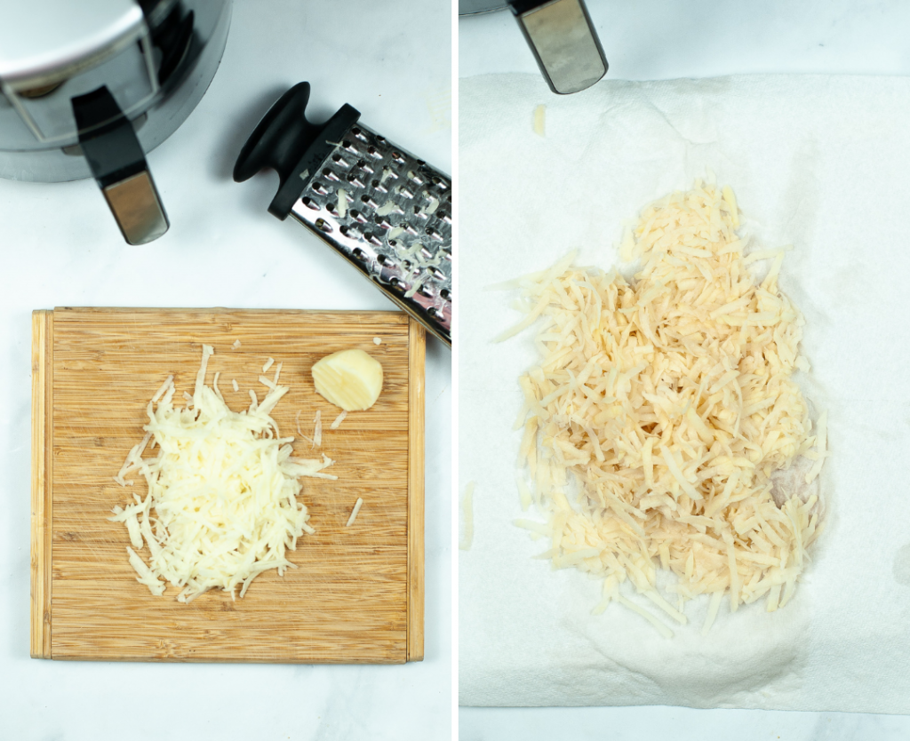 Grating the potatoes for air fryer hash browns