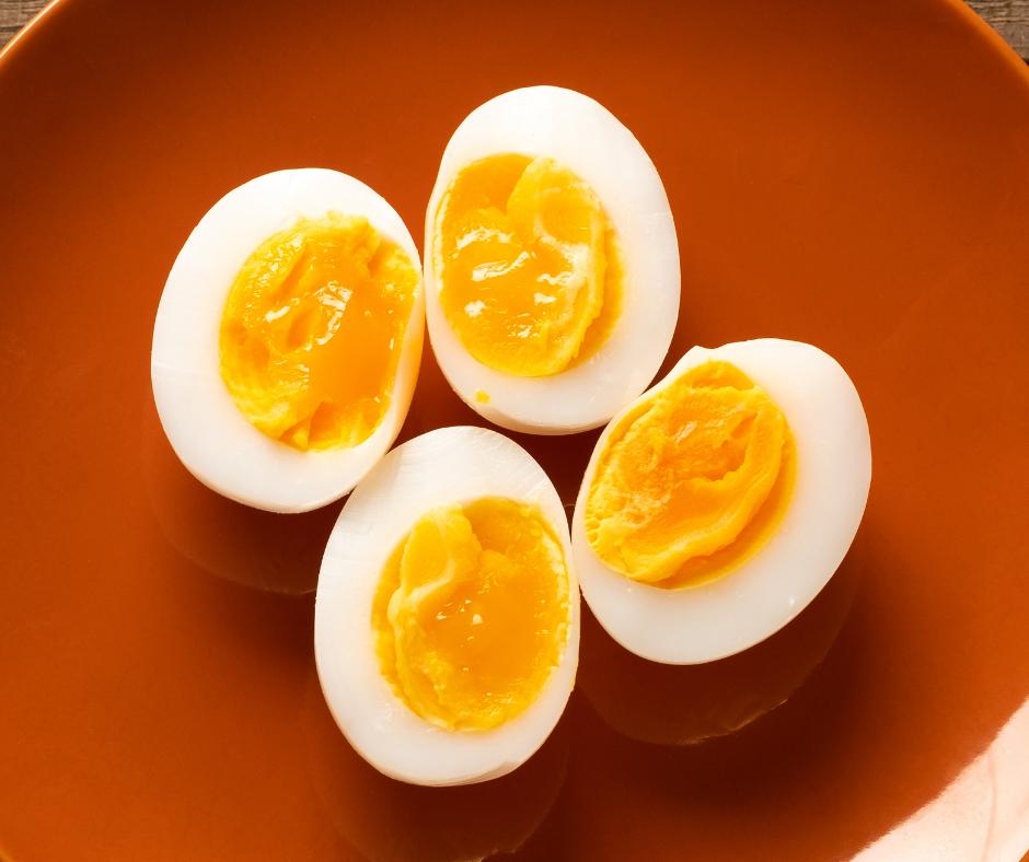 Medium Boiled Eggs sliced on a plate