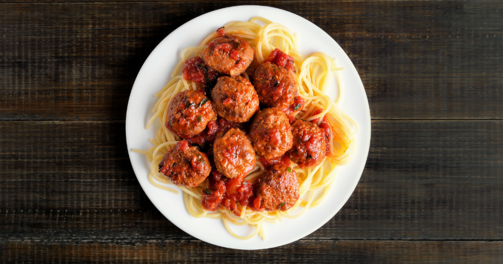 Spaghetti and Meatballs with frozen meatballs in the air fryer