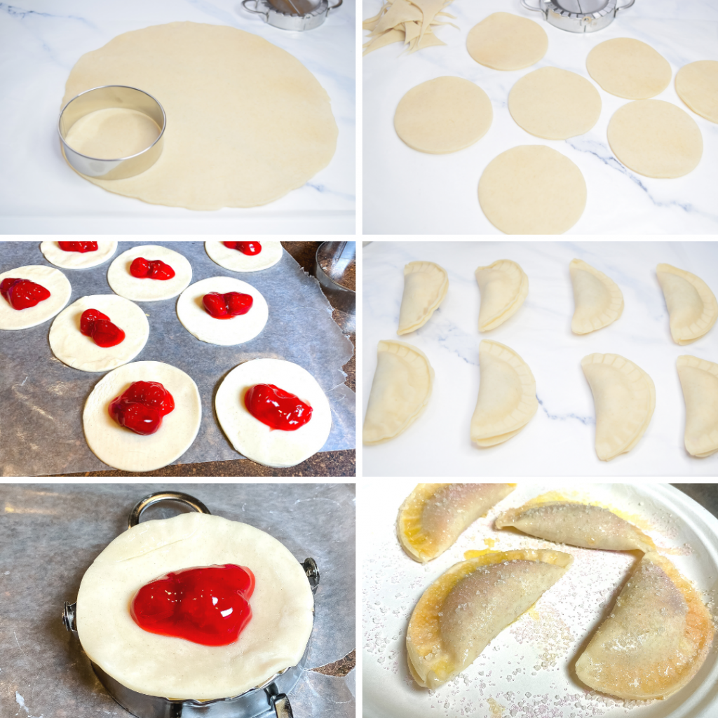 Collage photo for making the air fryer strawberry mini pies.