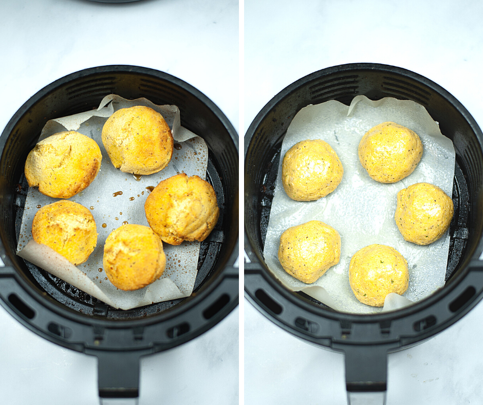 Two photos in a collage showing the rolled batter for hush puppies in the air fryer and then the finished golden brown hush puppies in the air fryer.