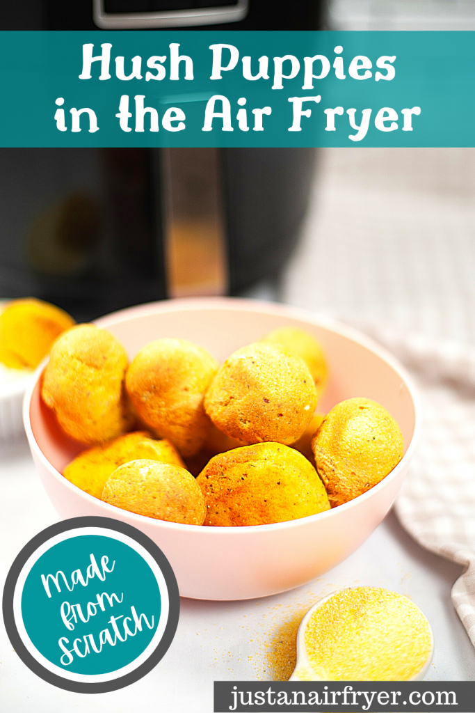 Title image for homemade hush puppies in the air fryer with a bowl full of them.