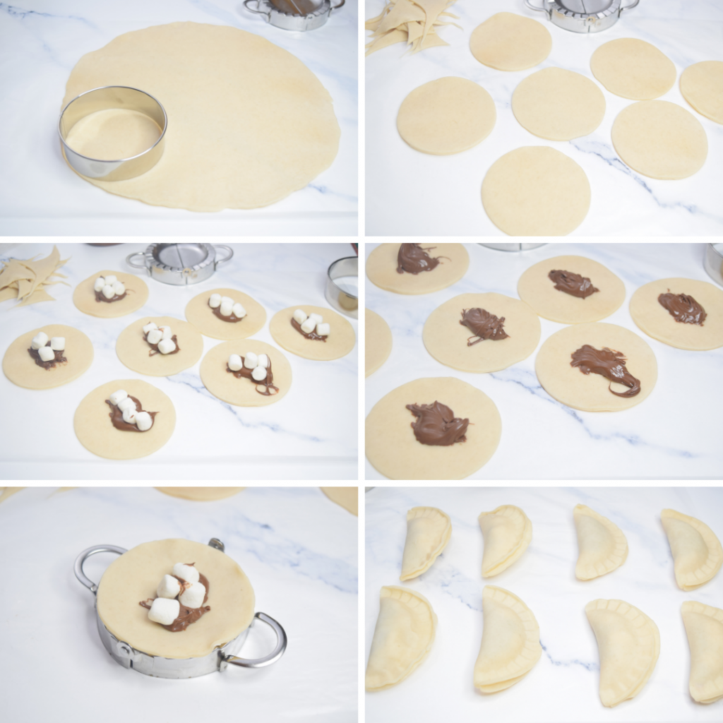 Collage of photos for making S'mores Hand Pies in the Air Fryer