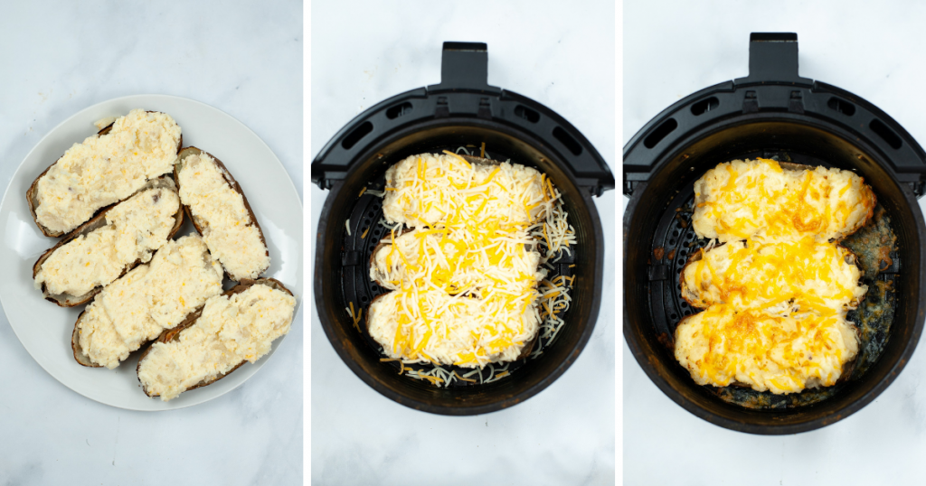 Collage image with potato skins full of potato mixture, potatoes in the air fryer covered in cheese, and then melted cheese.