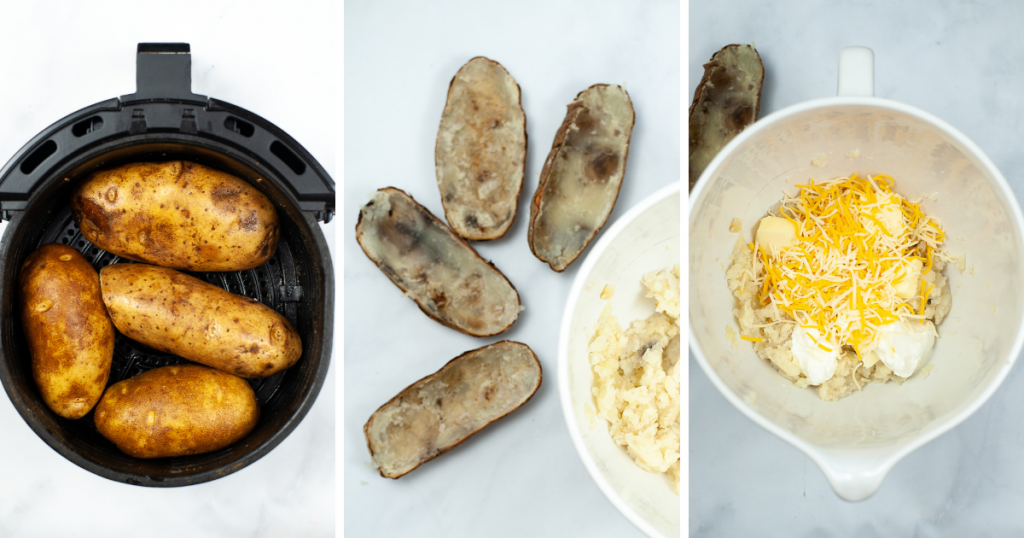Collage to make air fryer twice baked potatoes with potatoes in air fryer, scooped out potato skins, and the mix of potatoes
