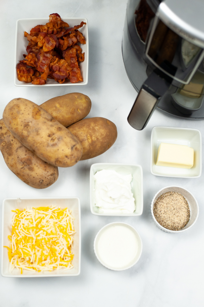 Ingredients to make Twice Baked Potatoes in the Air Fryer