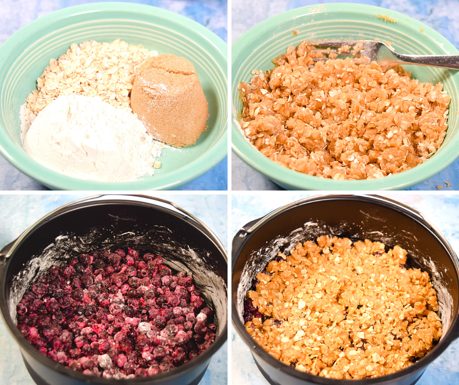 A collage of four images making the oat sugar mixture to top the blueberries in the cake barrel.