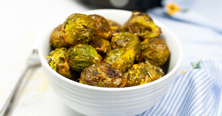 Air Fryer Bacon Parmesan Brussel Sprouts