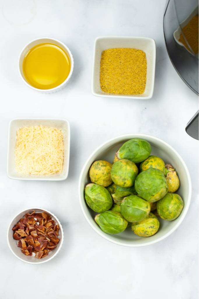 Ingredients for air fryer bacon parmesan brussel sprouts