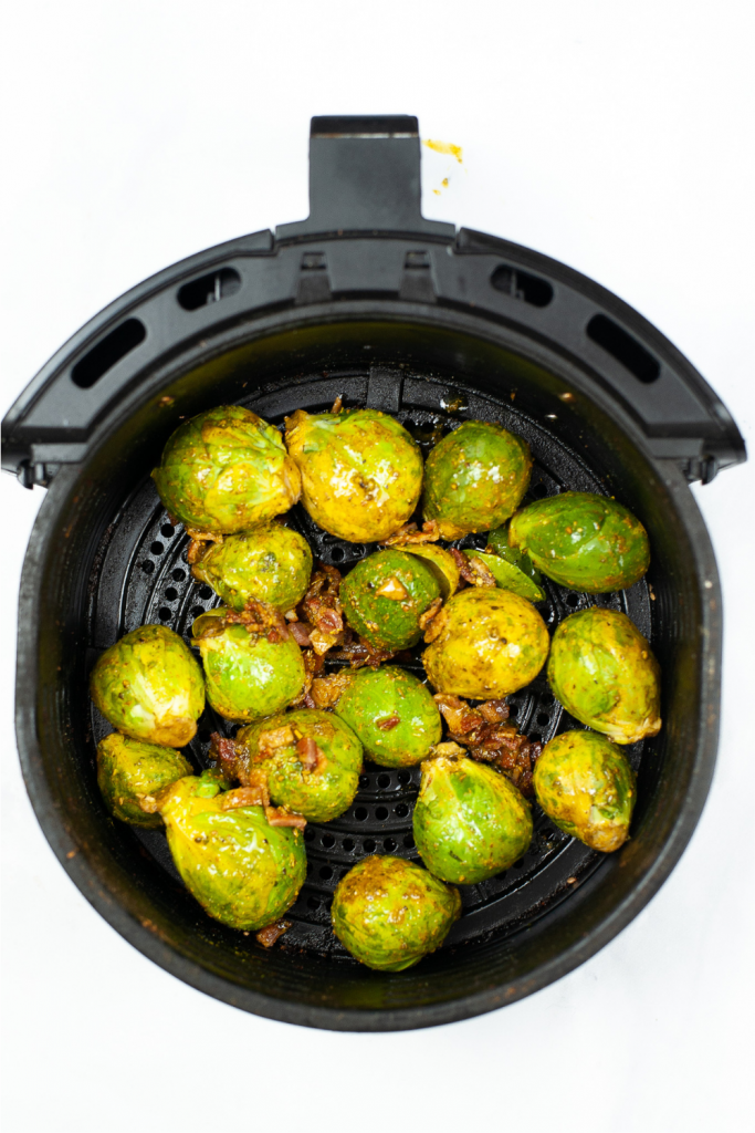 Brussel sprouts in the air fryer with bacon