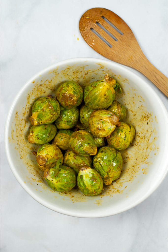 Brussel sprouts with oil and lemon herb seasoning.