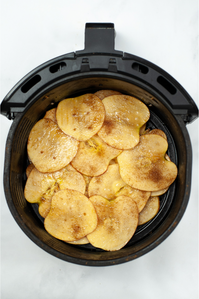 Shaking apple chips every 5 minutes in air fryer.