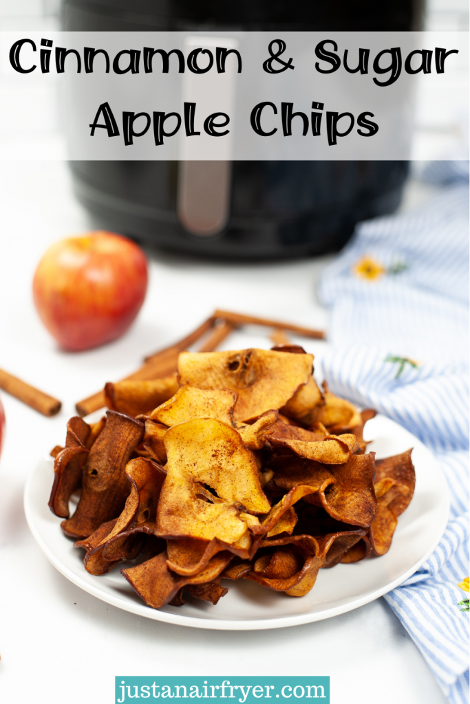 White plate of cinnamon and sugar apple chips made from the air fryer