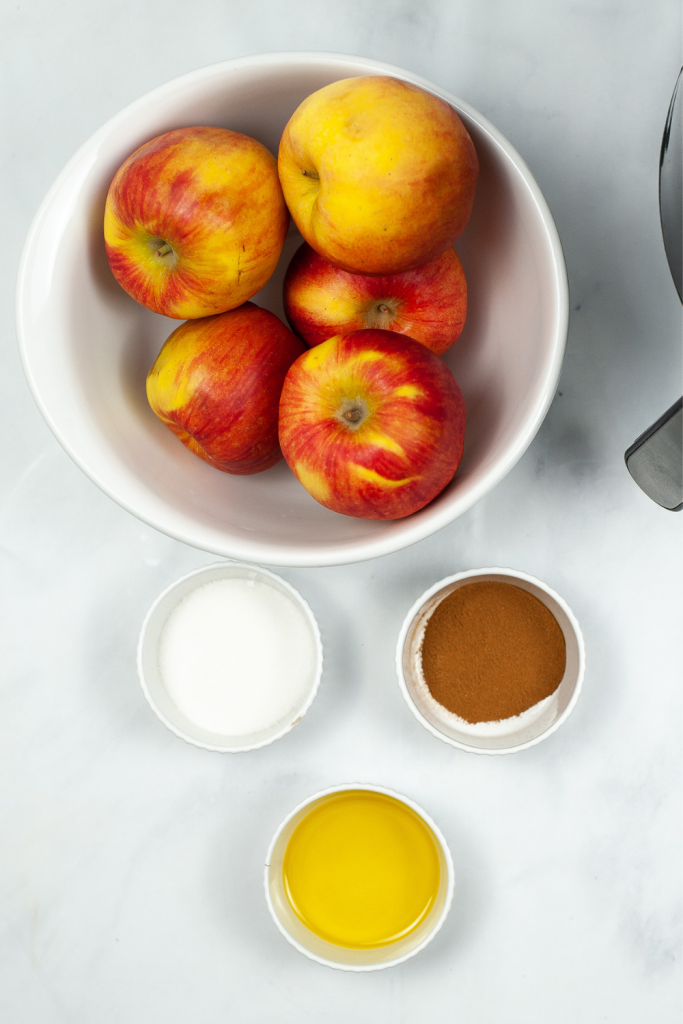Ingredients to make apple chips in the air fryer
