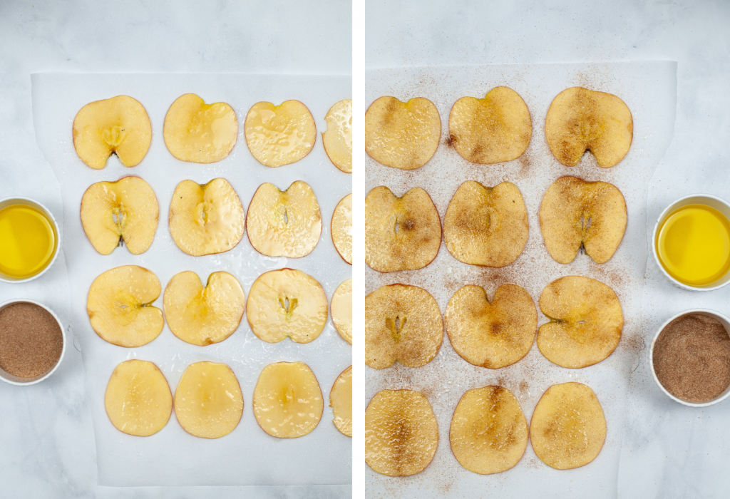Spray apple slices with oil and then season with cinnamon and sugar on both sides.
