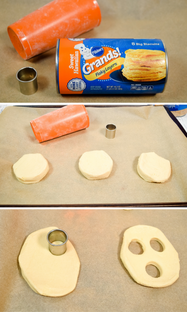 Collage of images showing how to roll the biscuits and cut out the mouth and eyes.